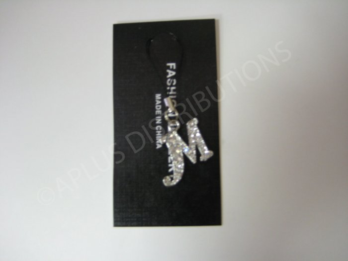 NEW Crystal Cell Phone Charm-  Big Letter �M� Cursive