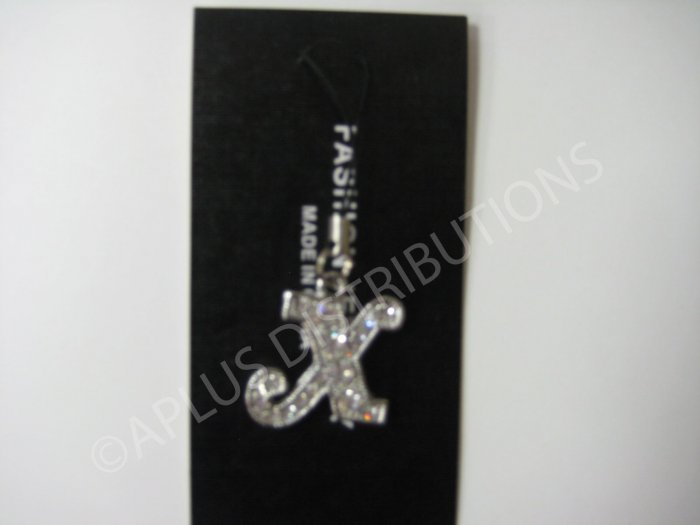 NEW Crystal Cell Phone Charm-  Big Letter �X� Cursive