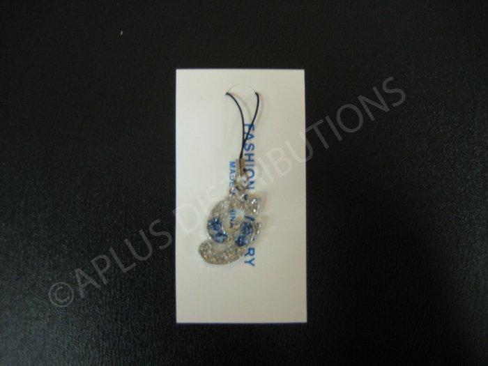 NEW Crystal Cell Phone Charm-  Big Letter Light Blue �G� Cursive