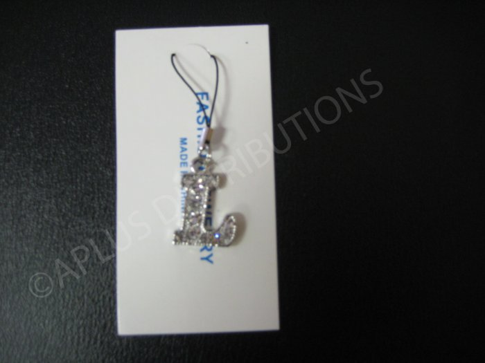 NEW Crystal Cell Phone Charm-  Big Letter �L� Regular