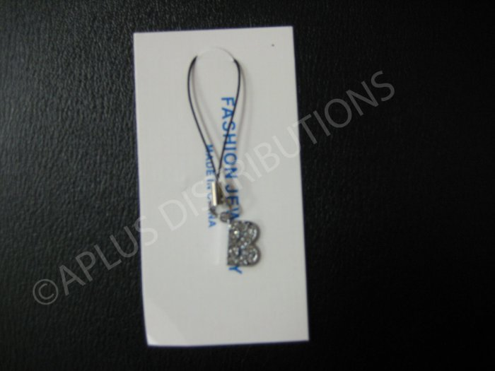 NEW Crystal Cell Phone Charm-  Small Letter �B� Regular