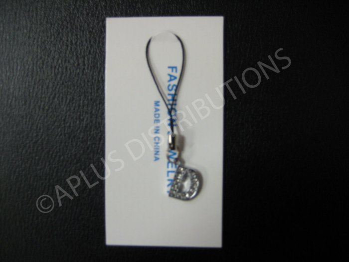 NEW Crystal Cell Phone Charm-  Small Letter �D� Regular