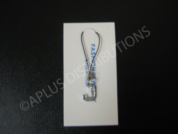 NEW Crystal Cell Phone Charm-  Small Letter �J� Regular