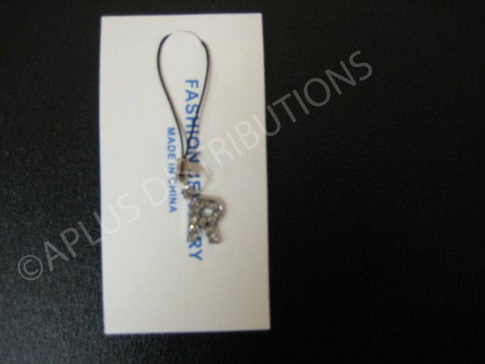 NEW Crystal Cell Phone Charm-  Small Letter �R� Regular