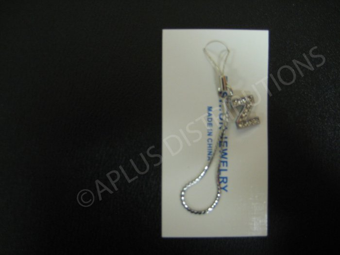 NEW Crystal Cell Phone Charm-  Small Letter �Z� Regular