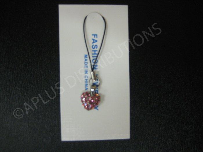 NEW Crystal Cell Phone Charm- Pink Heart Mutli-Diamonds