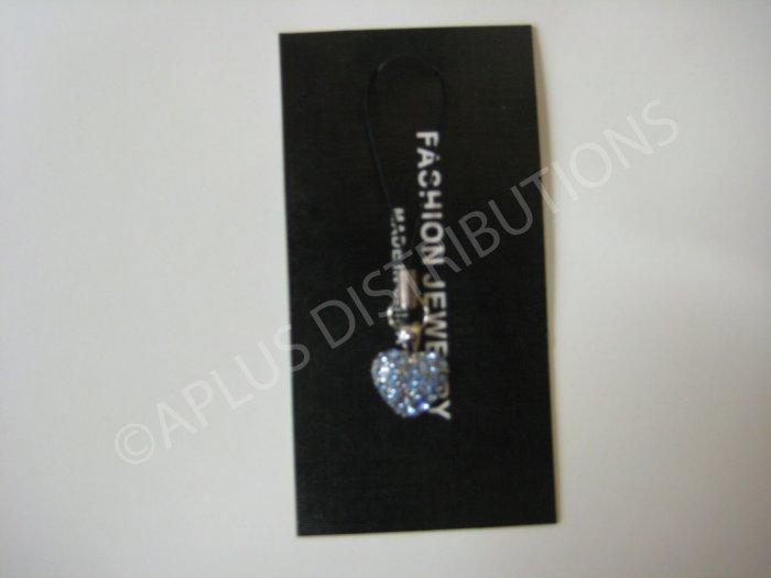 NEW Crystal Cell Phone Charm- Blue Heart Mutli-Diamonds