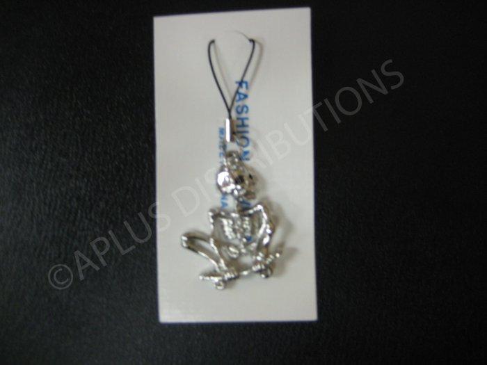 NEW Crystal Cell Phone Charm- Clear Skeleton on a Skate Board Mutli-Diamonds