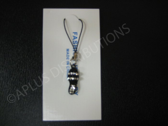 NEW Crystal Cell Phone Charm-Black Sandal Mutli-Diamonds