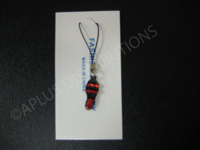 NEW Crystal Cell Phone Charm- Red Sandal Mutli-Diamonds