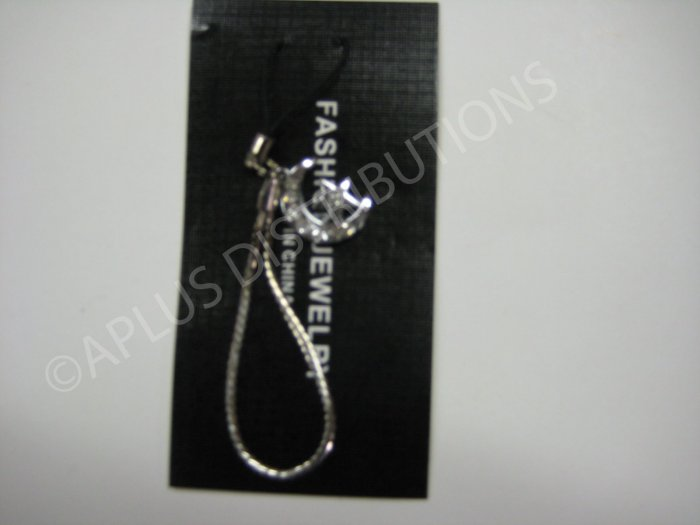 NEW Crystal Cell Phone Charm-Crescent Moon W/ Star