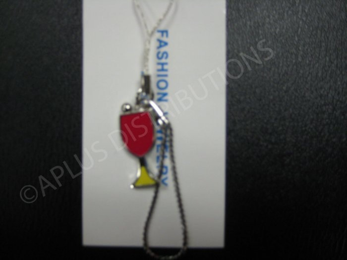 NEW Crystal Cell Phone Charm-Wine Glass