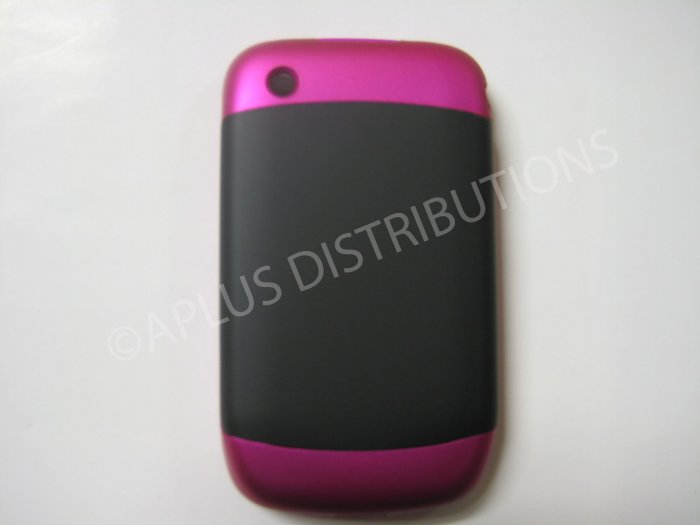 New Hot Pink Rubberized Hard Cover For Blackberry 8520 - (0110)