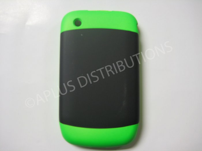 New Lime Green Rubberized Hard Cover For Blackberry 8520 - (0114)