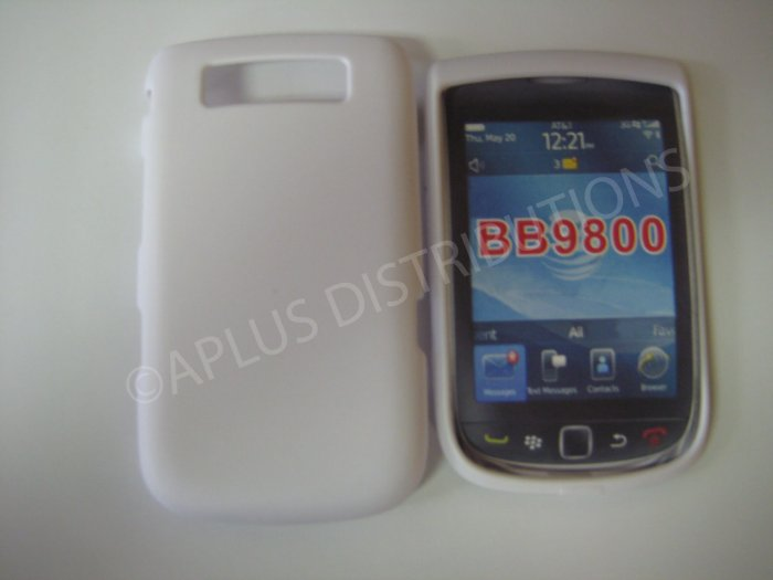 New White Rubberized Hard Protective Cover For Blackberry 9800 - (0156)