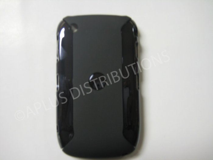 New Black Metallic Two Piece Design Hard Protective Cover For Blackberry 8520 - (0121)