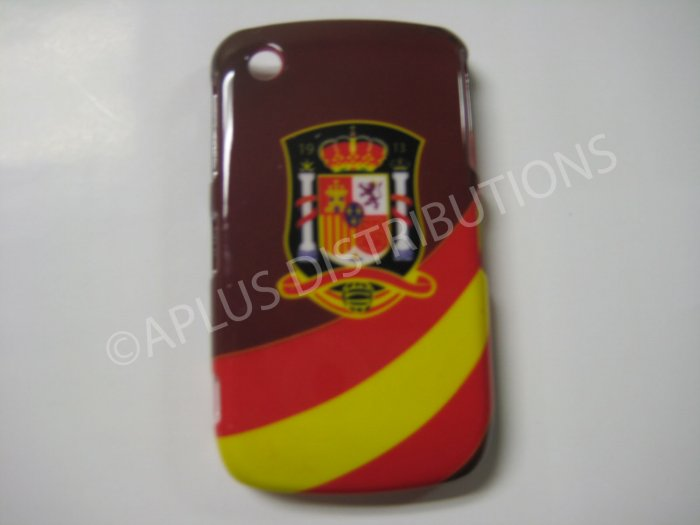 NEW Hard Protective Case For Blackberry 8520-SPAIN W/STRIPS (Red/Brown)