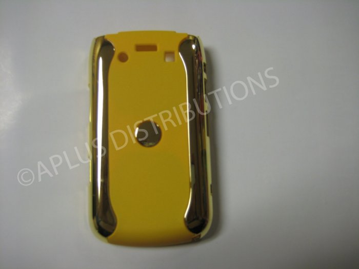 New Yellow Metallic Two Piece Design Hard Protective Cover For Blackberry 9700 - (0116)