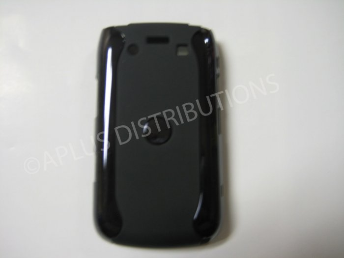 New Black Metallic Two Piece Design Hard Protective Cover For Blackberry 9700 - (0121)