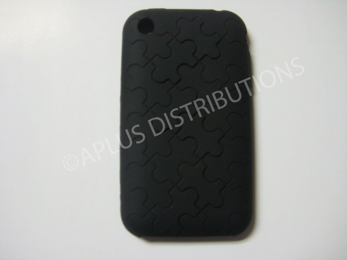 New Black Puzzle Pattern Silicone Cover For iPhone 3G 3GS - (0030)