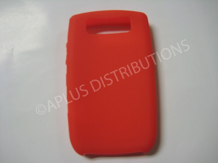 New Red Solid Color Silicone Cover For Blackberry 8900 - (0155)