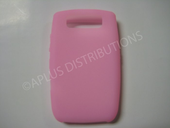 New Pink Solid Color Silicone Cover For Blackberry 8900 - (0153)