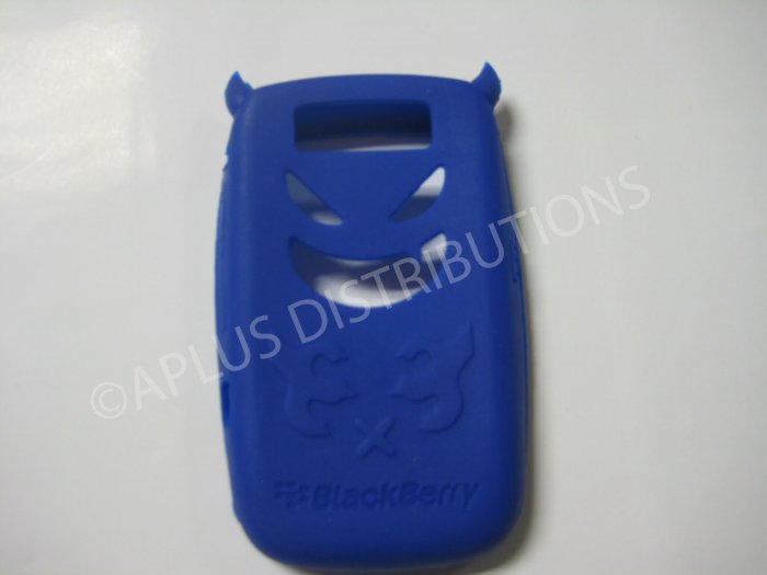 New Dark Blue Devil Design Silicone Cover For Blackberry 8900 - (0187)