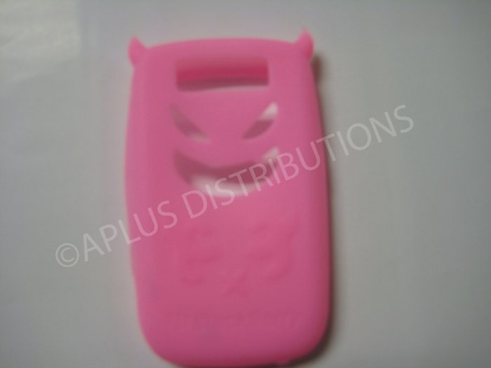 New Light Pink Devil Design Silicone Cover For Blackberry 8900 - (0022)