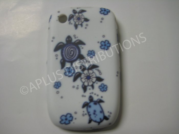NEW HAWAIIAN TURTLE DESIGN FOR BLACKBERRY 8520 - BLUE/WHITE