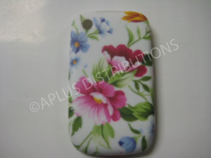 New White Pink Flowers TPU Cover For Blackberry 8520 - (0089)