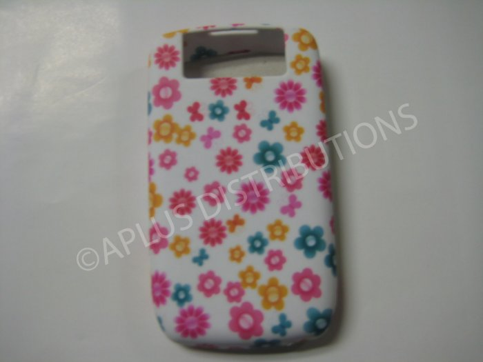 New Pink Bursting Flowers TPU Cover For Blackberry 8900 - (0101)