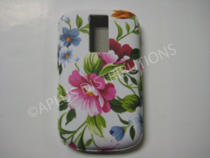 New White Pink Flowers TPU Cover For Blackberry 9000 - (0089)