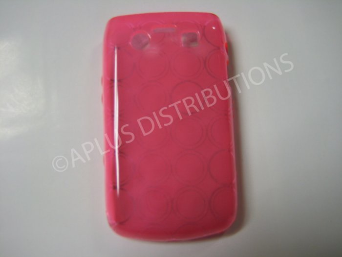 New Pink Transparent Multi-Circles TPU Cover For Blackberry 9700 - (0036)