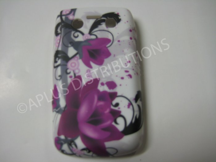New Purple Water Lily Flower Series TPU Cover For Blackberry 9700 - (0093)