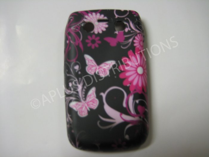 New Black Butterfly W/Flowers TPU Cover For Blackberry 9700 - (0135)
