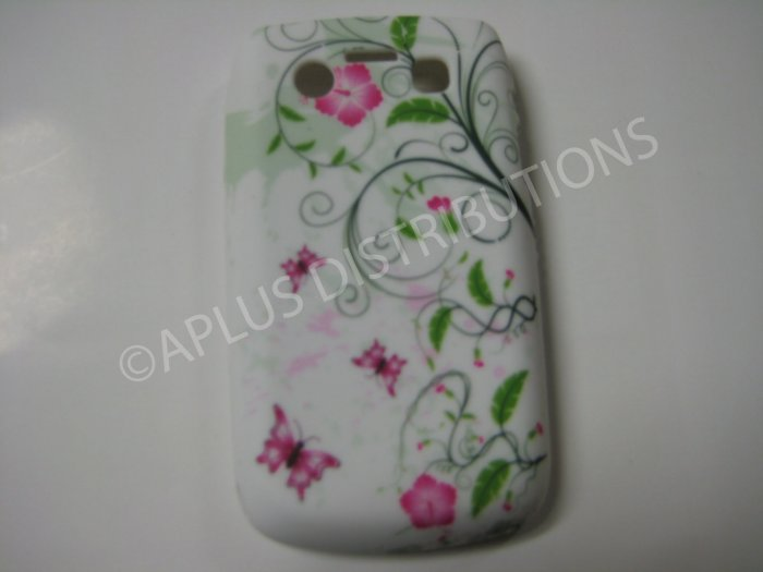 New Pink Butterflies Swirl TPU Cover For Blackberry 9700 - (0107)