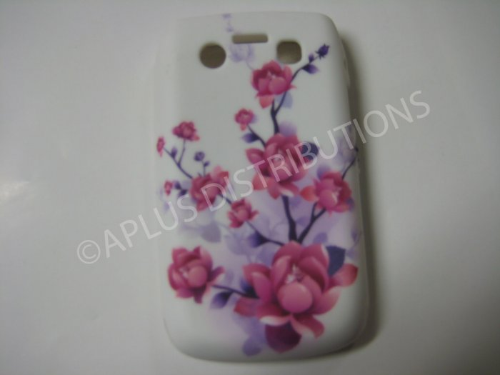 New Purple Cherry Blossom Series TPU Cover For Blackberry 9700 - (0031)