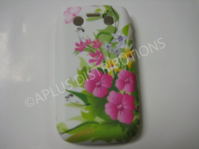 New Pink Flower Image TPU Cover For Blackberry 9700 - (0108)