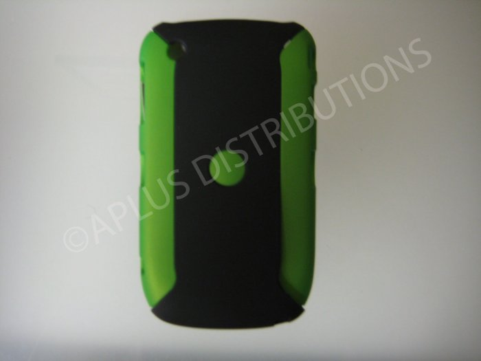 New Green/Black Metallic Two Piece Design Hard Protective Cover For Blackberry 8520 - (0123)