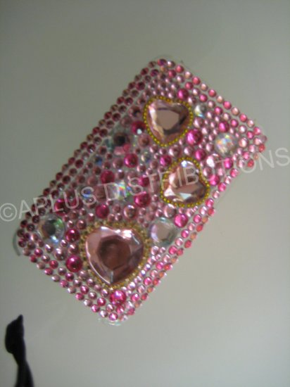 NEW FASHIONABLE BLING MULTI-HEARTS DIAMONDS FOR IPOD TOUCH 2ND 3RD GENERATION-HOTPINK/PINK