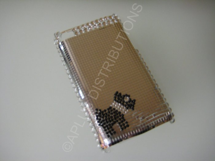 NEW FASHIONABLE BLING POOCH DOG FOR IPOD TOUCH 4TH GENERATION-SILVER