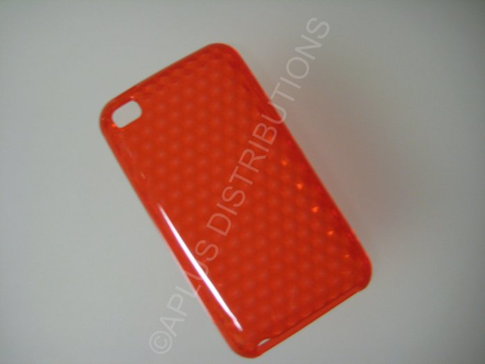 NEW FOR IPOD TOUCH 4TH GENERATION TRANSPARENT DIAMOND CUT PATTERN-RED