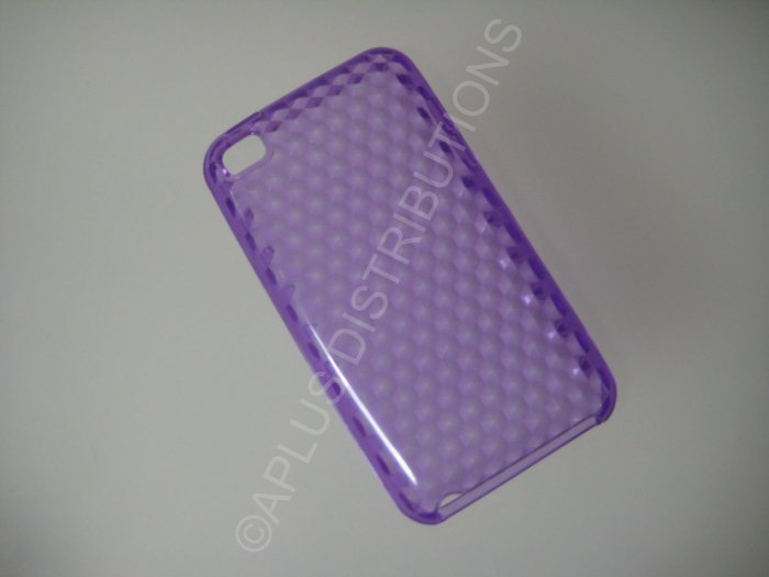 NEW FOR IPOD TOUCH 4TH GENERATION TRANSPARENT DIAMOND CUT PATTERN-PURPLE