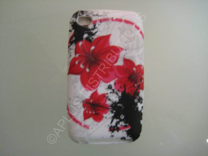 NEW FOR IPOD TOUCH 4TH GENERATION FLOWER IMAGE-RED/BLACK