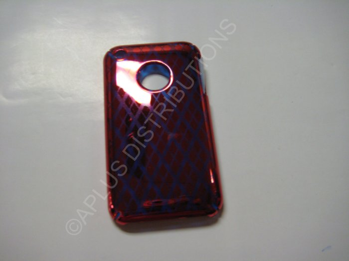 New Red Chrome Diamond Pattern Hard Protective Cover For iPhone 3G 3GS - (0065)
