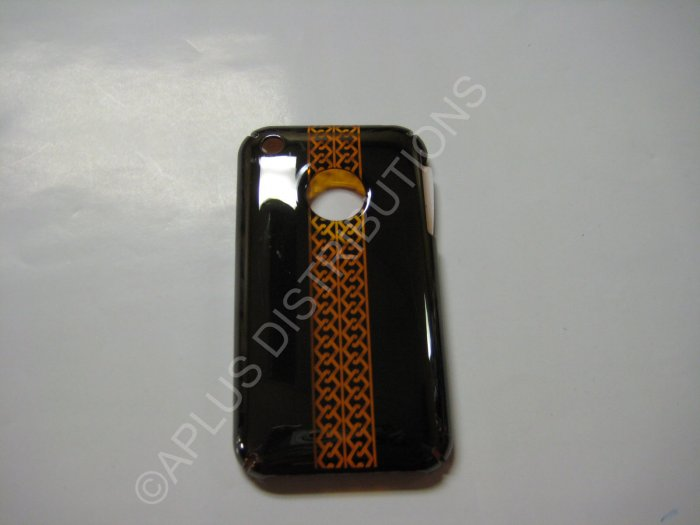 New Black Chrome Tire Tracks Design Hard Protective Cover For iPhone 3G 3GS - (0071)
