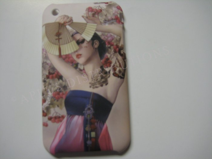 New Blue Oriental Girl W/Fan Design Hard Protective Cover For iPhone 3G 3GS - (0036)