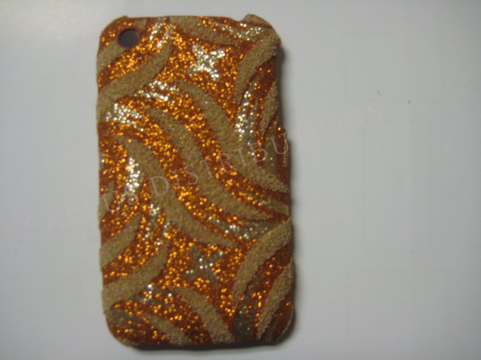 New Bronze Glittery Swirlz Design Hard Protective Cover For iPhone 3G 3GS - (0032)
