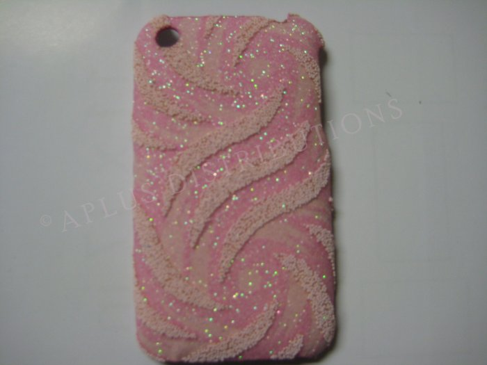 New Light Pink Glittery Swirlz Design Hard Protective Cover For iPhone 3G 3GS - (0030)