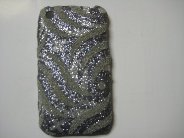 New Silver Glittery Swirlz Design Hard Protective Cover For iPhone 3G 3GS - (0031)